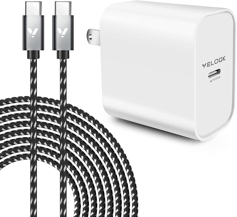VELOGK 30W USB C Fast Charger [Full-Speed Charge] for 2020/2018 iPad Pro 12.9 Gen 4/3, iPad Pro 11 Gen 2/1, iPad Air 4, MacBook Air 13 inch, MacBook 12, iPad Pro Charger Kit with USB C to USB C Cord
