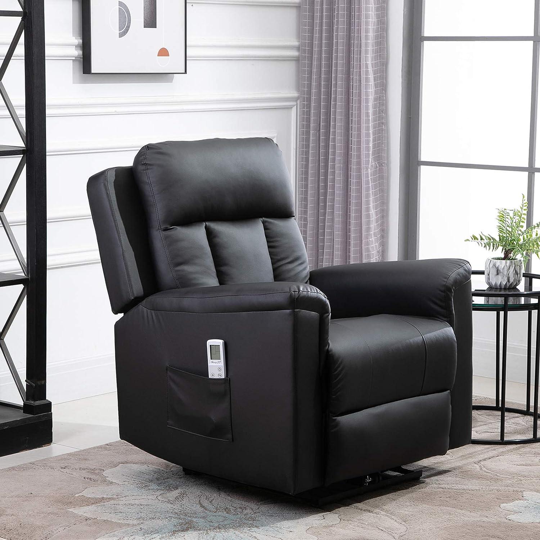 Heizfunktion Kunstleder Schaumstoff HOMCOM Relaxsessel mit Massagefunktion 86 x 92 x 100 cm Holz Metall Braun Fernsehsessel
