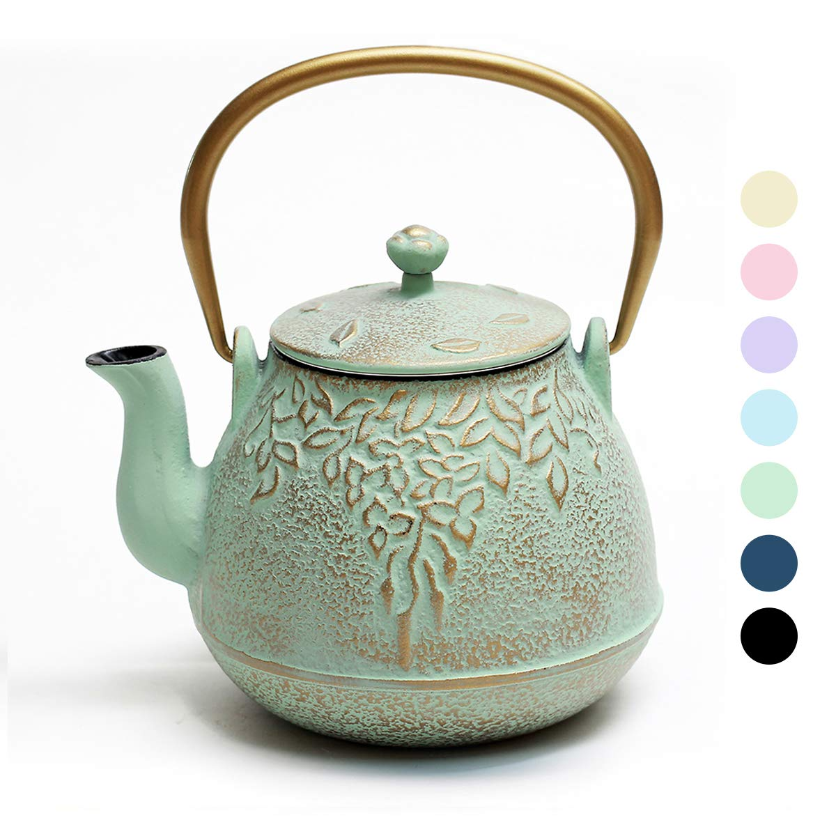 Tea Kettle, TOPTIER Japanese Cast Iron Teapot with Infuser for Loose Leaf and Tea Bags, Stovetop Safe Cast Iron Tea Kettle Coated with Enameled Interior for 40 oz (1200 ml), Light Green