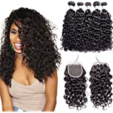 Maxine Water Wave 3 Bundles with Swiss Lace Closure 8A Virgin Peruvian Human Hair Wet and Wavy Hair Natural Color with Free Part 4x4 Lace Closure Unprocessed Peruvian Virgin Hair