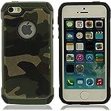 iPhone 5 & 5S Funda Carcasa Color de Camuflaje, Duro Plastico Doble capa Diseño para iPhone 5S / 5