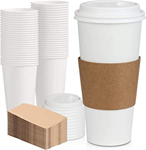 [50 Pack] White Coffee Cups with White Dome Lids and Brown Sleeves - 24oz Disposable Paper Coffee Cups - To Go Cups for Hot Chocolate, Tea, and Other Drinks - Ideal for Cafes, Bistros, and Businesses