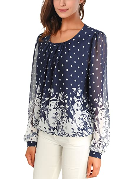 WAJAT - Camiseta Blusa para Mujer de Chifon Azul-Blanco#2 X-large
