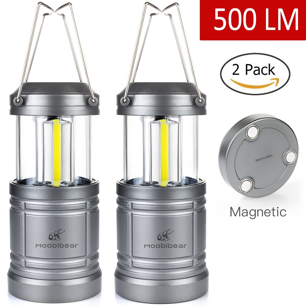 moobibear 500lm LED linterna de camping con base magnética, 30ledes COB tecnología funciona con pilas resistente al agua plegable linterna para noche pesca, senderismo, Emergencias, 2unidades MBUK -Lantern