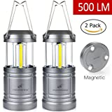 Moobibear 500lm LED Camping Lanterns with Magnetic Base, 30 LEDs COB Technology Battery Powered Water Resistant Collapsible Lantern for Night Fishing, Hiking, Emergencies, 2 Pack