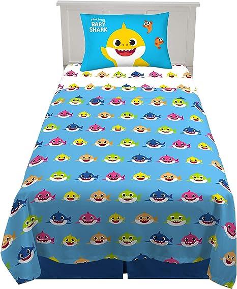 3 Piece Twin Size Baby Shark Franco Kids Bedding Super Soft Sheet Set