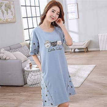 LycorisSmart Camisón de Algodón para Mujer Camisola de Dormir Juvenil Grande Azul Claro con Diseño de Gatos (yo Azul): Amazon.es: Ropa y accesorios
