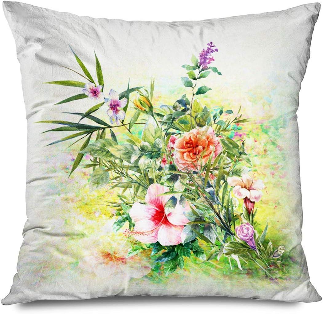 Suo Long Funda de cojín Rosa Ramo Abstracto Flores Multicolores Acuarela Pintura Styledigital Aceite Naturaleza Rojo Funda de Almohada Antigua