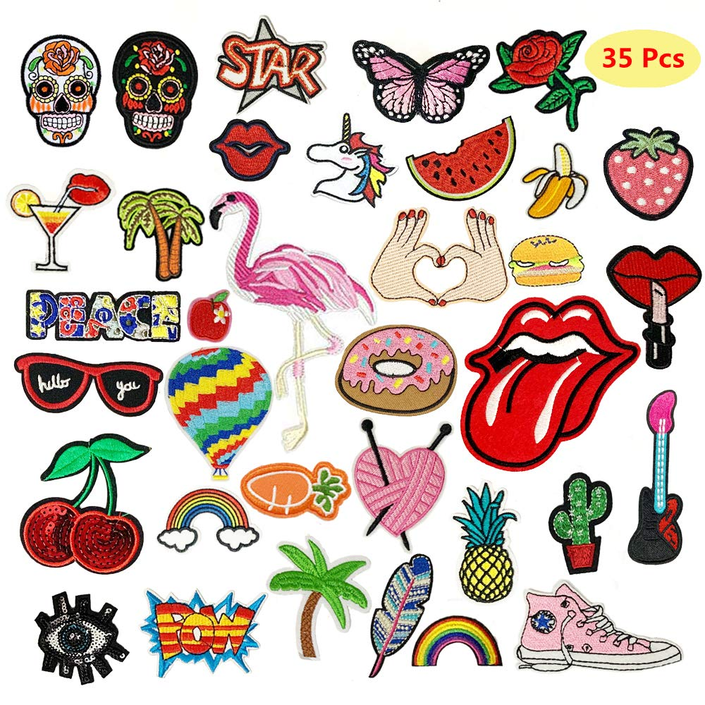 9x//Set DIY Embroidery Patch Sew On Iron On Badge Applique Bag Craft Transfer CA