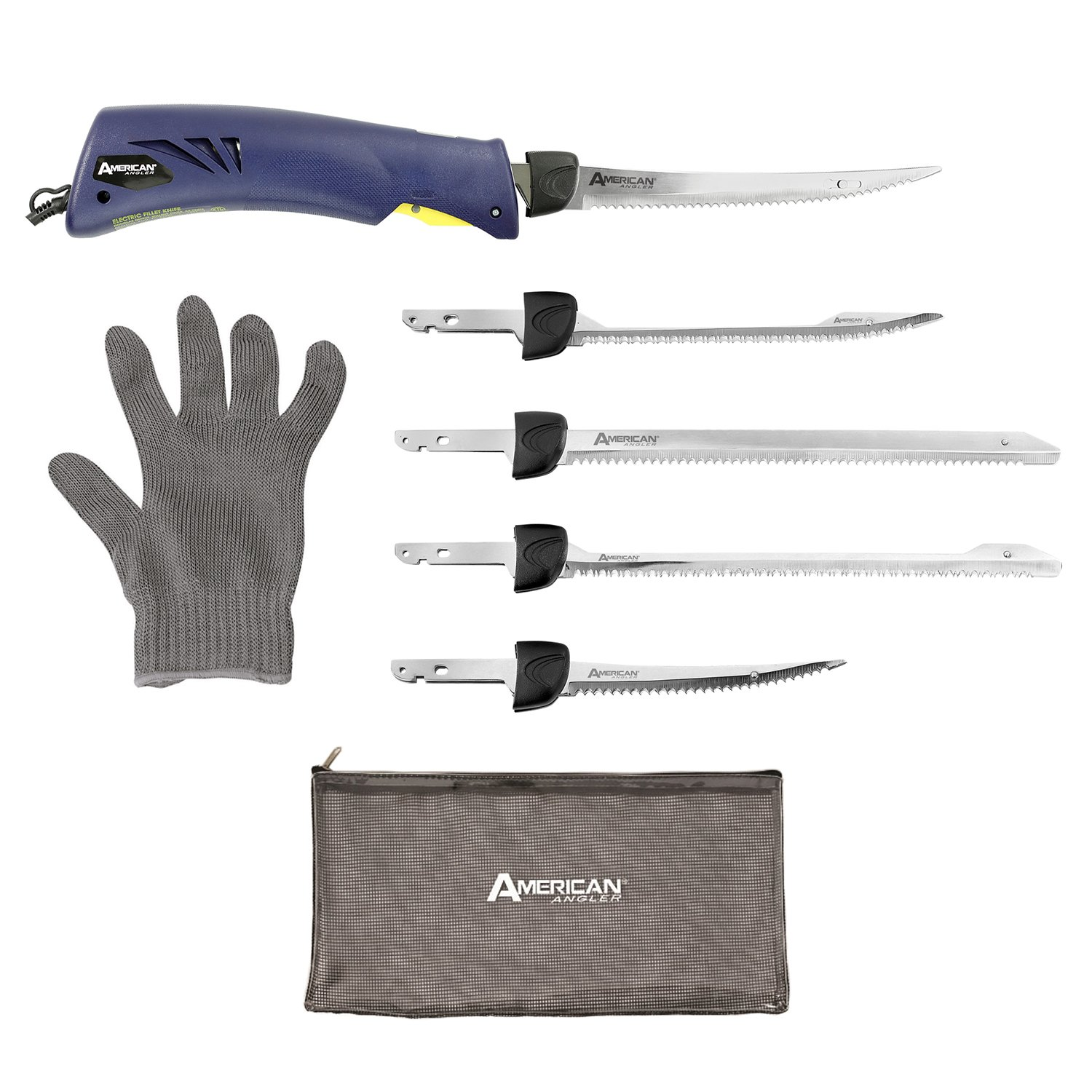 American Angler Classic Heavy Duty Electric Fillet Knife Precision Kit – 110 Volt High Performance Motorized Handset with with Five Kinds of Stainless Steel Blades, 31452DS by American Angler