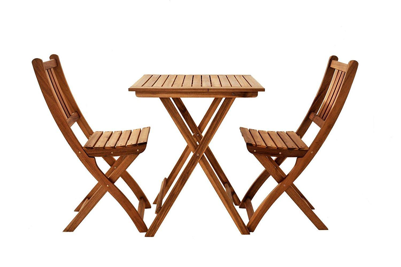 SAM® Conjunto para balcón, 3 piezas, mueble de jardín de madera de acacia, 1 mesa + 2 sillas plegables aceitadas, certificadas FSC® 100%.
