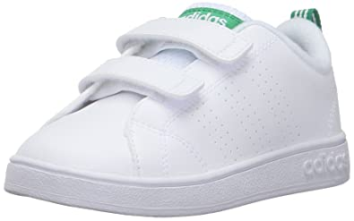 adidas Boys' VS Advantage Clean CMF Inf Sneaker, White/White/Green,