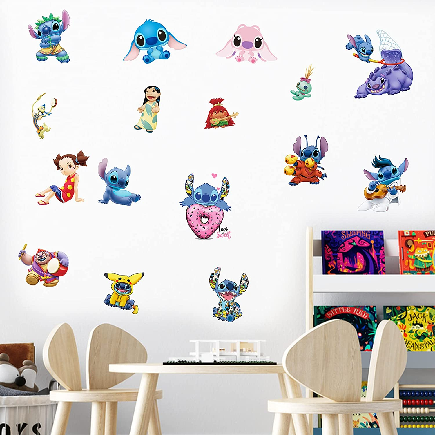 Lilo and Stitch Wall Decals 16×24in Ohana Means Family Cartoon Character Wall Art for Bedroom Nursery Playroom Stickers Decor Gifts for Kids