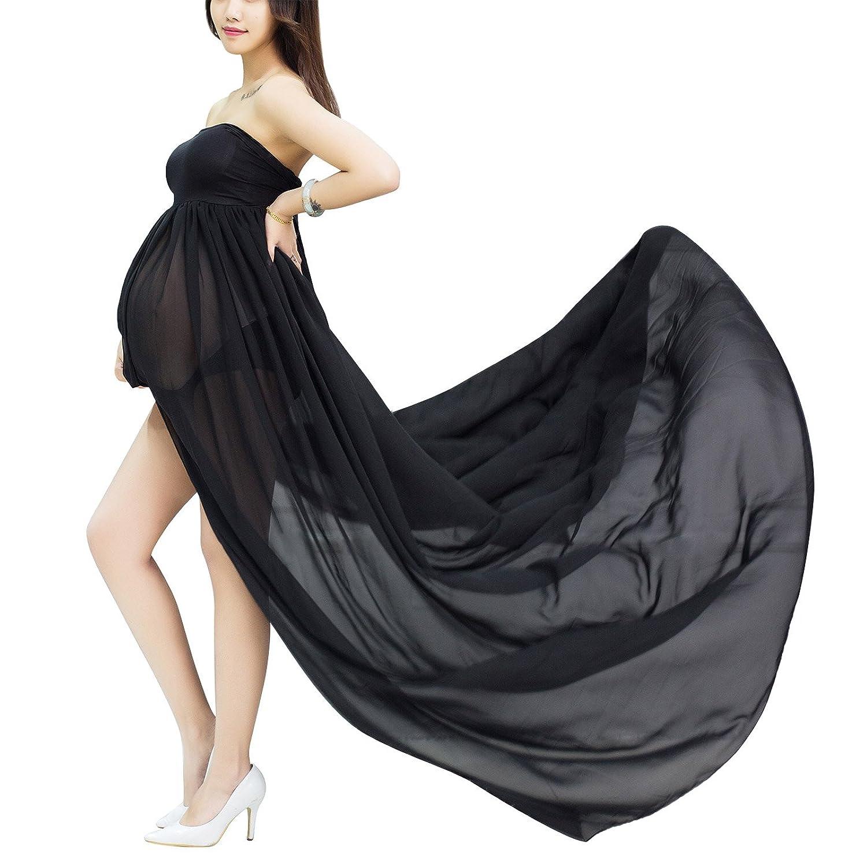 68cc7ae54 Happy Cherry Maxi Vestido de Maternidad Elegante de Gasa Apoyo Fotográfico  para Mujeres Embarazadas Tube Maternity