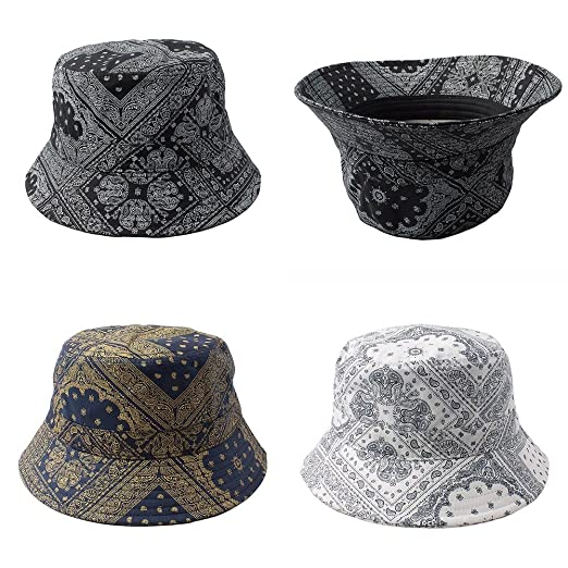 1afcc54dd88 Bucket Hat Bandana Paisley Pattern for Unisex One Size (PA-1-Navy ...