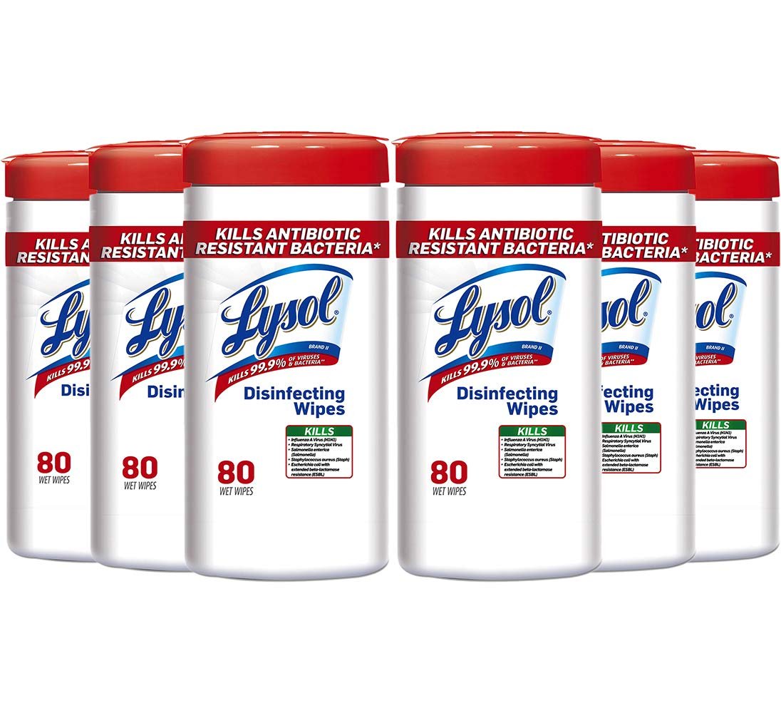 Lysol 92993 Disinfecting Wipes 7 x 8 White 80/Canister 6/Carton by Lysol (Image #1)