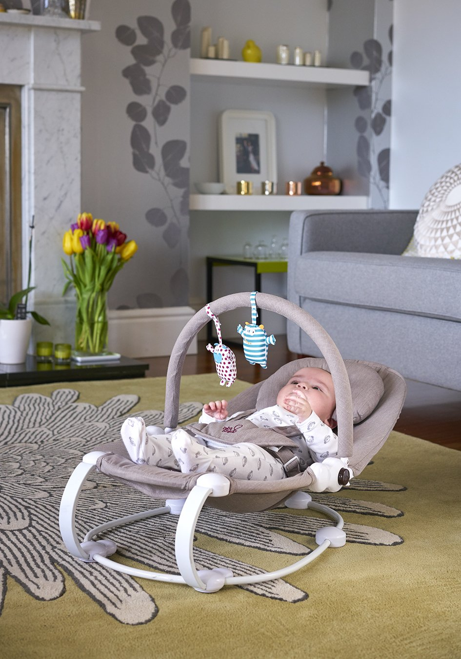 Bababing Lobo2 Two Position Baby Bouncer Grey Twill