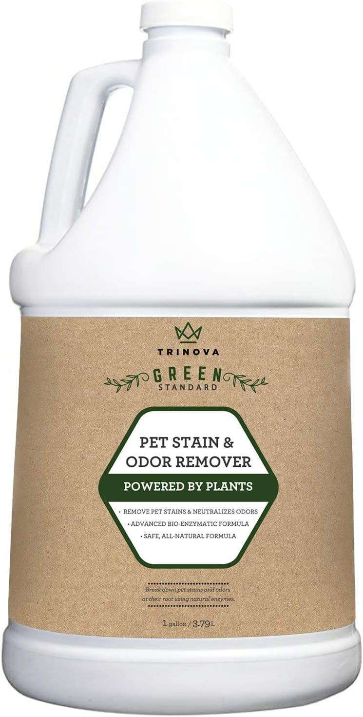 TriNova Natural Pet Stain and Odor Remover Eliminator - Advanced Enzyme Cleaner Spray - Remove Old & New Pet Stains & Smells for Dogs & Cats - All-Surface Safe - 1 Gallon