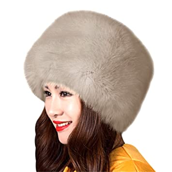 a37241d7dfa962 UniSec New Winter Warm Faux Rabbit Fur Hat Russian Style Mens Womens Cossack  Caps Fluffy Beanies