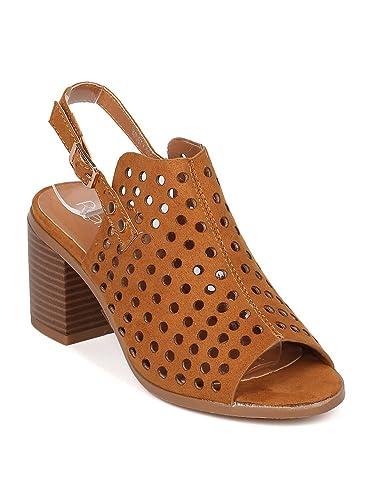 205a158dd8 Amazon.com | Alrisco Women Faux Suede Perforated Peep Toe Slingback Chunky  Heel Mule HA56 | Mules & Clogs