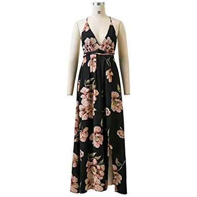 6759b6b94d Hogonta Summer Maxi Dress Women Floral Print Dress V-Neck Sleeveless Spaghetti  Strap Backless Side