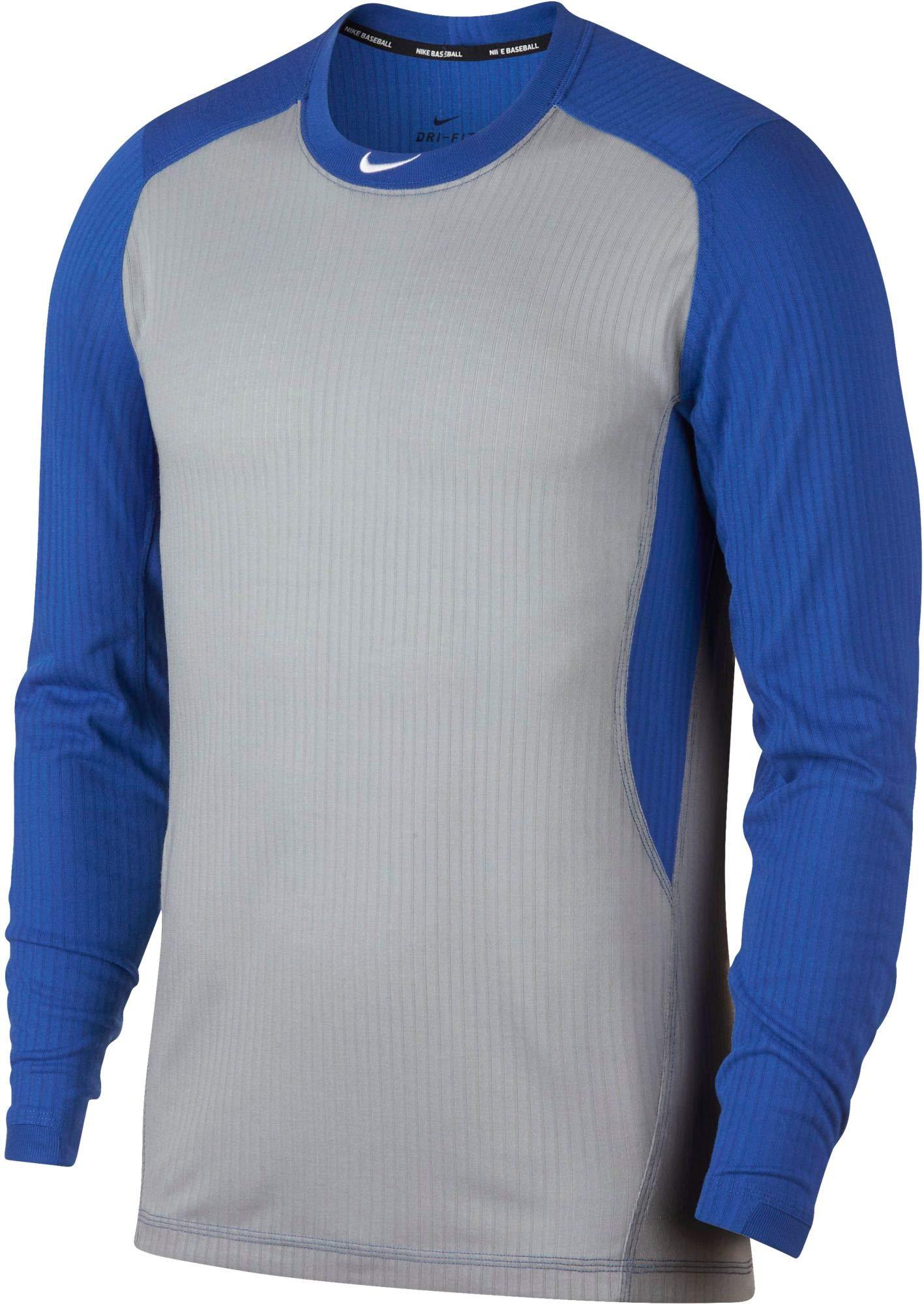 Nike Men's Long-Sleeve Baseball Top (Wolf Grey/Game Royal, Medium)