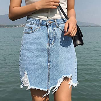55501f041 HEHEAB Falda Dividida Split Corto Mini Falda Jeans Faldas Chicas ...