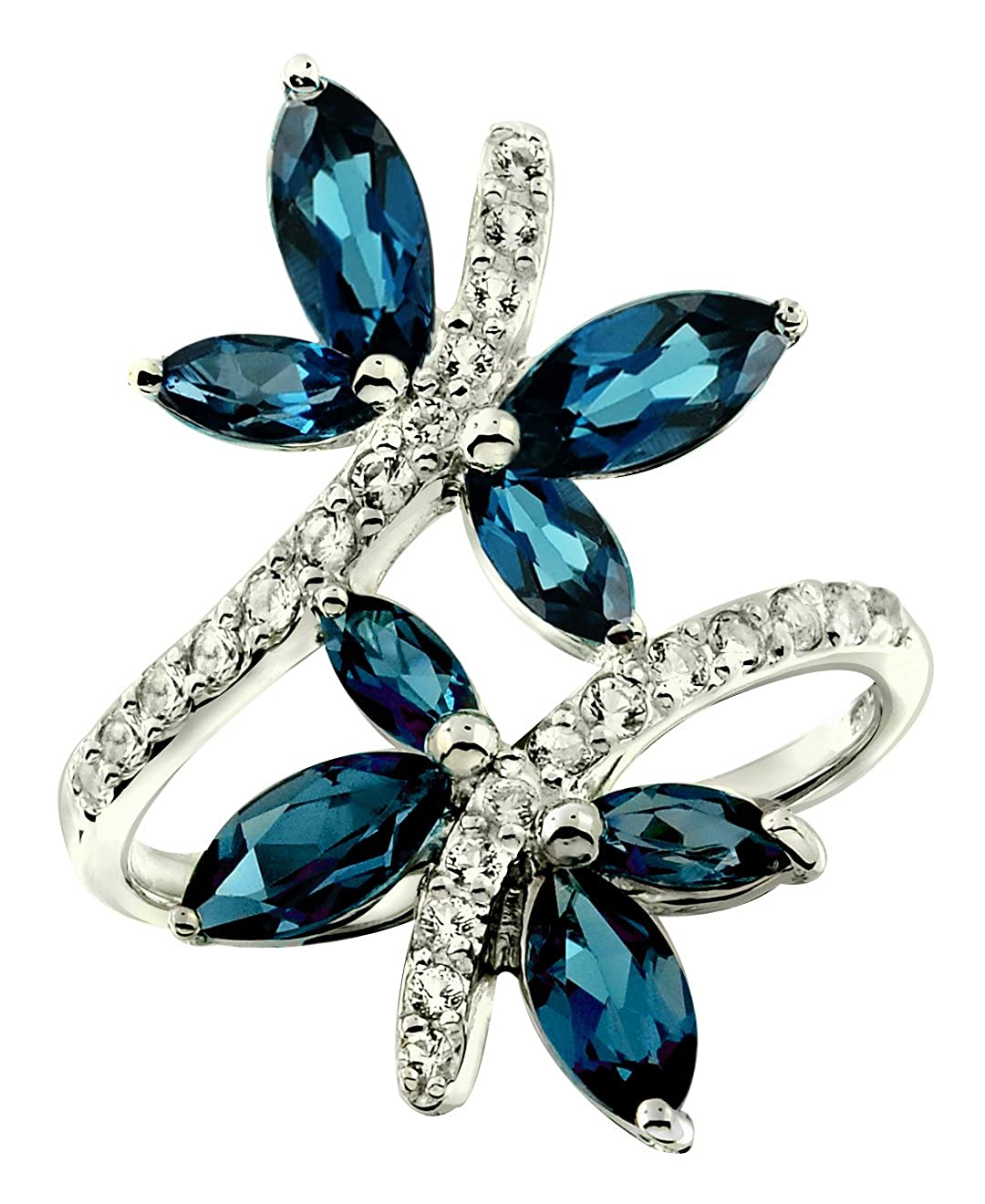 RB Gems Sterling Silver 925 Ring GENUINE GEMSTONE DRAGONFLY Design with Rhodium-Plated Finish