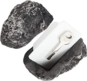 Hide A Key Outdoor Fake Rock 2 Pack Spare Key Hider Outdoor Rock, Safe for Outdoor Garden Or Yard, Geocaching, Looks and Feels Like Real Stone