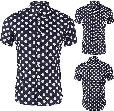 GreatFun Camisa de Moda para Hombre Blusa Estampada Casual de un Solo Pecho Manga Corta Camisas Delgadas Tops Camisas con Cuello de Solapa Superior Blusas Color sólido Camisas con Cuello de: Amazon.es: