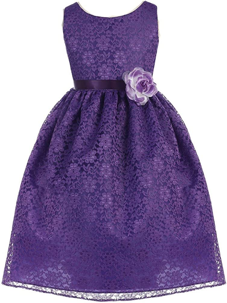 Calla Collection Big Girls Purple Floral Lace Junior Bridesmaid Dress 8-12