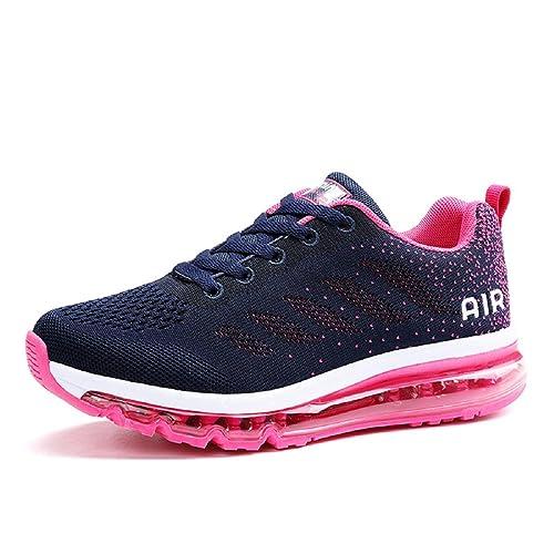 Herren Damen Laufschuhe mit Luftpolster, Freizeitschuh Sportschuhe Bequeme  Leichte Schuhe (36 EU, Marine c2135c2d36