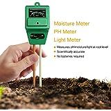 Mooncity 3en 1L'humidité du sol Mètre, PH acidité et testeur de lumière, Plante du sol testeur kit, idéal pour le jardin, Ferme, Pelouse, intérieur et extérieur (sans batterie Nécessaire)