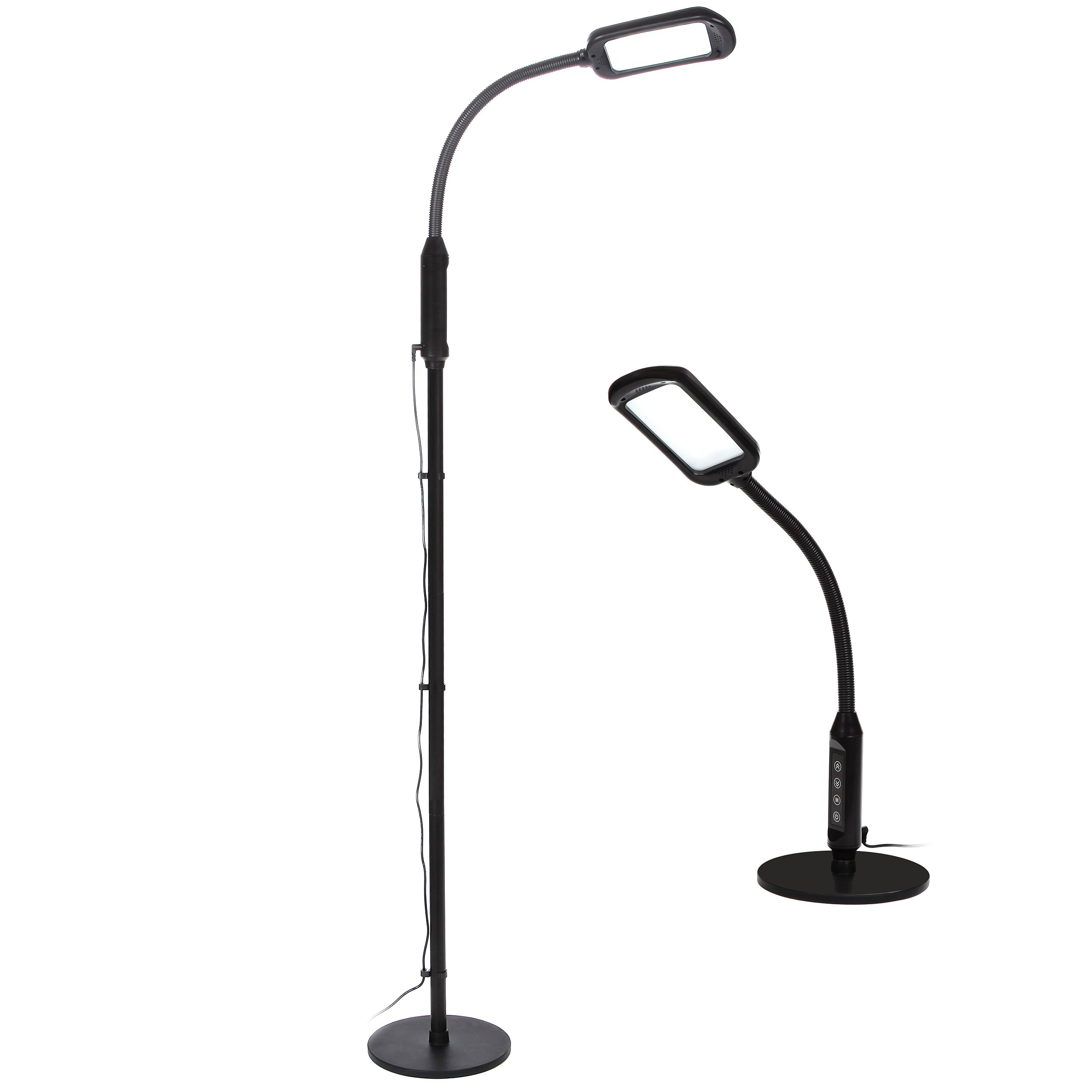 Brightech Litespan LED 2-in-1 Edition - Dimmable Reading Desk and Floor Lamp- Adjustable Color Temperature Switch- Standing Pole Light with Gooseneck for Living Room Dorm Bedroom Office Task- Black