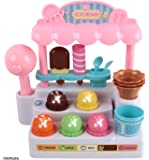 Memtes Mini Ice Cream Shop Toy Stand Pretend Play Set with Lights and Sound For Kids