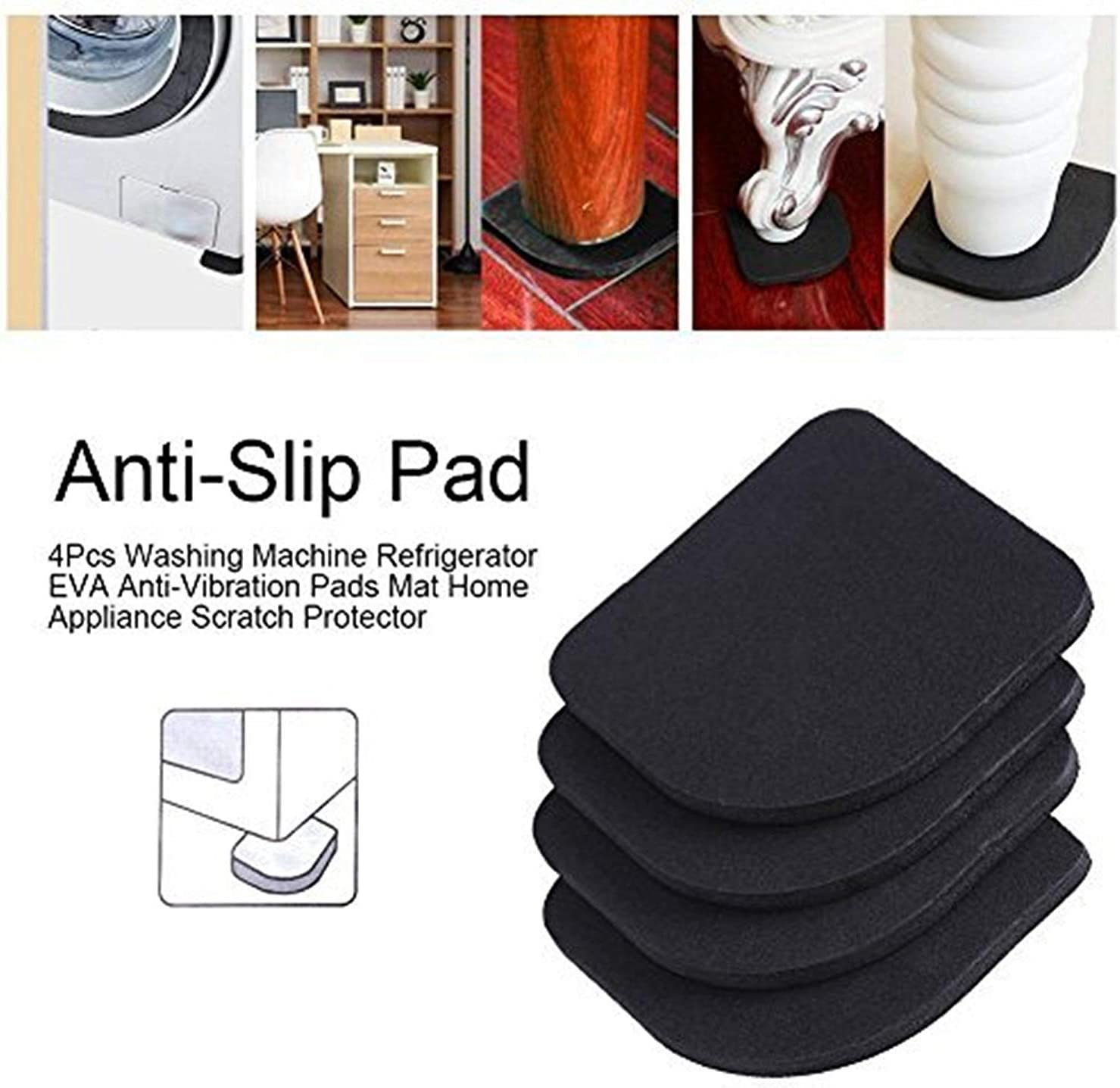 4Pcs Non-dérapant Clair Mat machine à laver réfrigérateur anti-vibration Shock Pad
