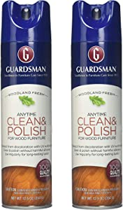 Guardsman Clean & Polish For Wood Furniture - Woodland Fresh - 12.5 oz - Silicone Free, UV Protection - 2 Pack
