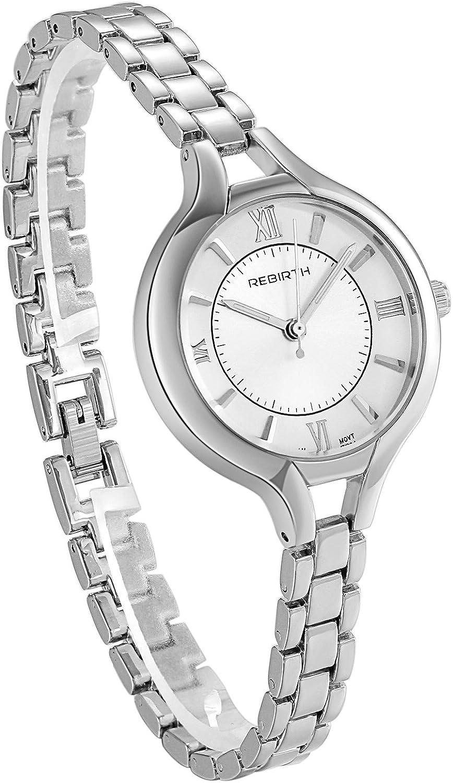 JewelryWe Classy Large Reloj de Cara con Fina Pulsera de Plata Banda Reloj de Pulsera para Mujer