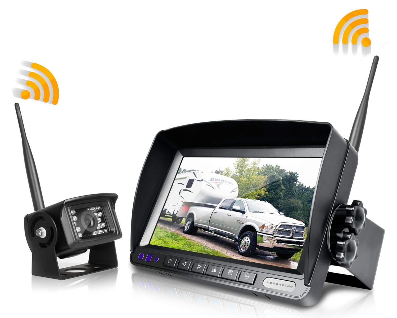 ZEROXCLUB Digital Wireless Backup Camera System Kit,No Interference,IP69 Waterproof Wireless Rear View Camera + 7'' LCD Wireless Reverse Monitor for Rv/Truck/Trailer/Bus/Pickup/Van (W01-7 inch)