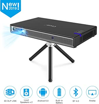 Cocar Mini Projector T5 2019 New Upgrade Android 6.0 Portable Video Projector Built-in Battery 3D DLP-Link 2400-Lumen Louder Speaker WiFi Bluetooth ...