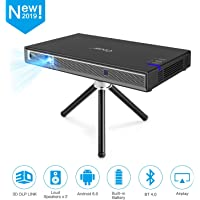 Cocar Mini Projector T5 2019 New Upgrade Android 6.0 Portable Video Projector Built-in Battery 3D DLP-Link 2400-Lumen Louder Speaker WiFi Bluetooth HDMI Support 4K Keystone Correction Black