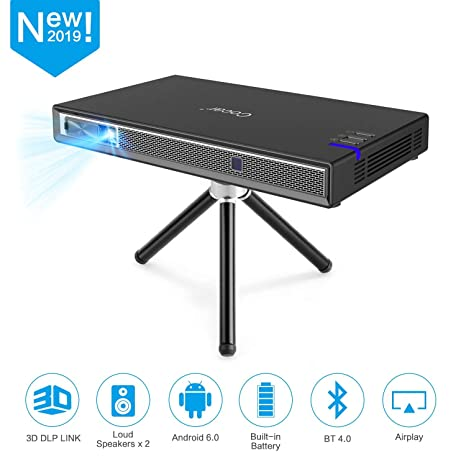 Cocar Mini Projector T5 2019 New Upgrade Android 6 0 Portable Video  Projector Built-in Battery 3D DLP-Link 2400-Lumen Louder Speaker WiFi  Bluetooth