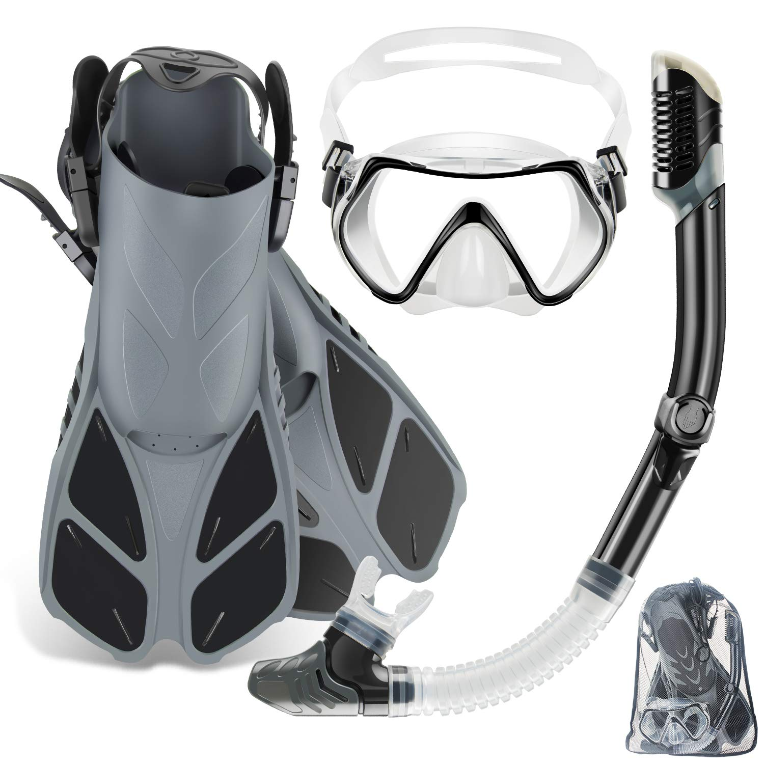 ZEEPORTE Mask Fin Snorkel Set with Adult Snorkeling Gear, Panoramic View Diving Mask, Trek Fin, Dry Top Snorkel +Travel Bags, Snorkel for Lap Swimming (ML/XL) (White, ML/XL) by ZEEPORTE