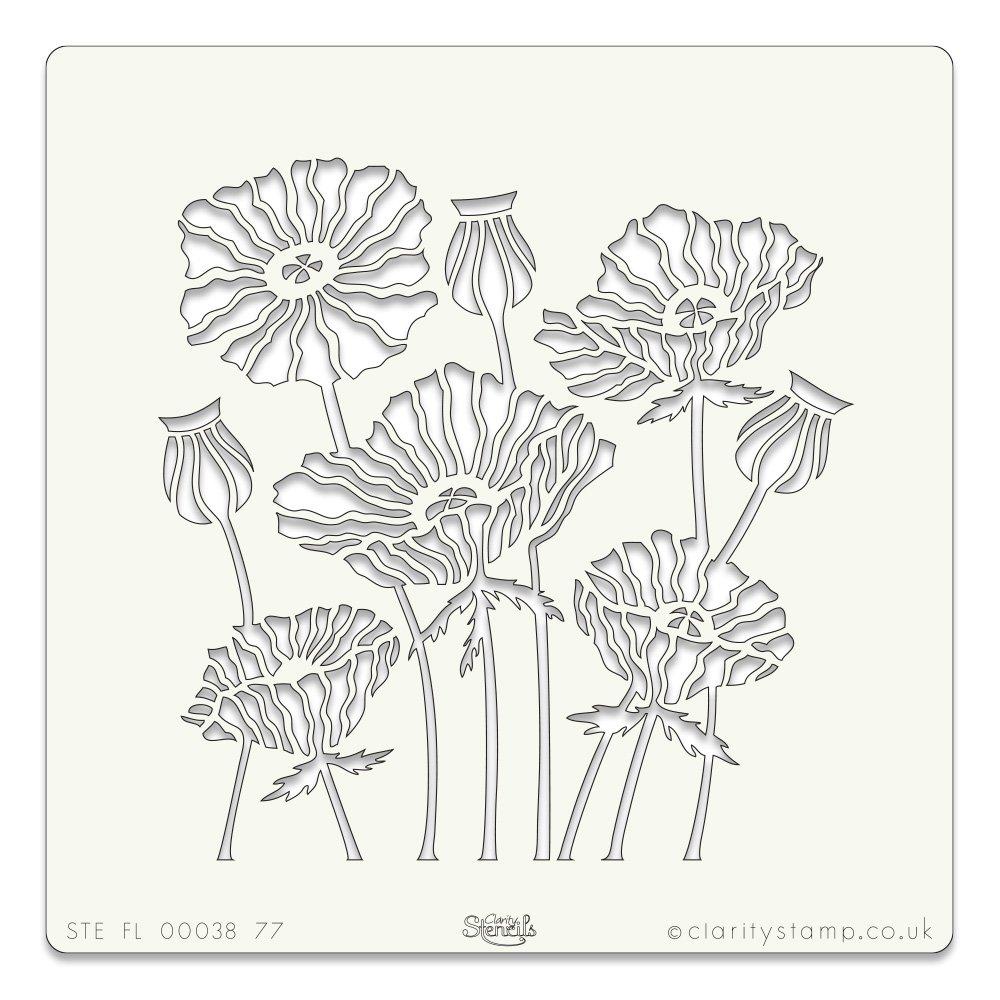 Poppies Stencil 7 x 7 Inches Claritystamp