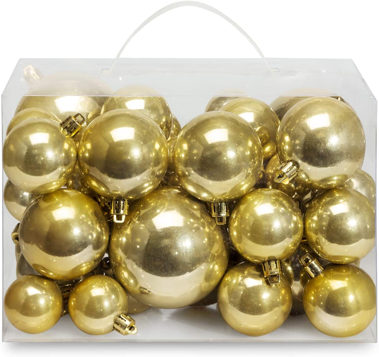 AMS Christmas Ball Plating Ornaments Tree Collection for Holiday Parties Decoration (40ct Pearl, Gold)
