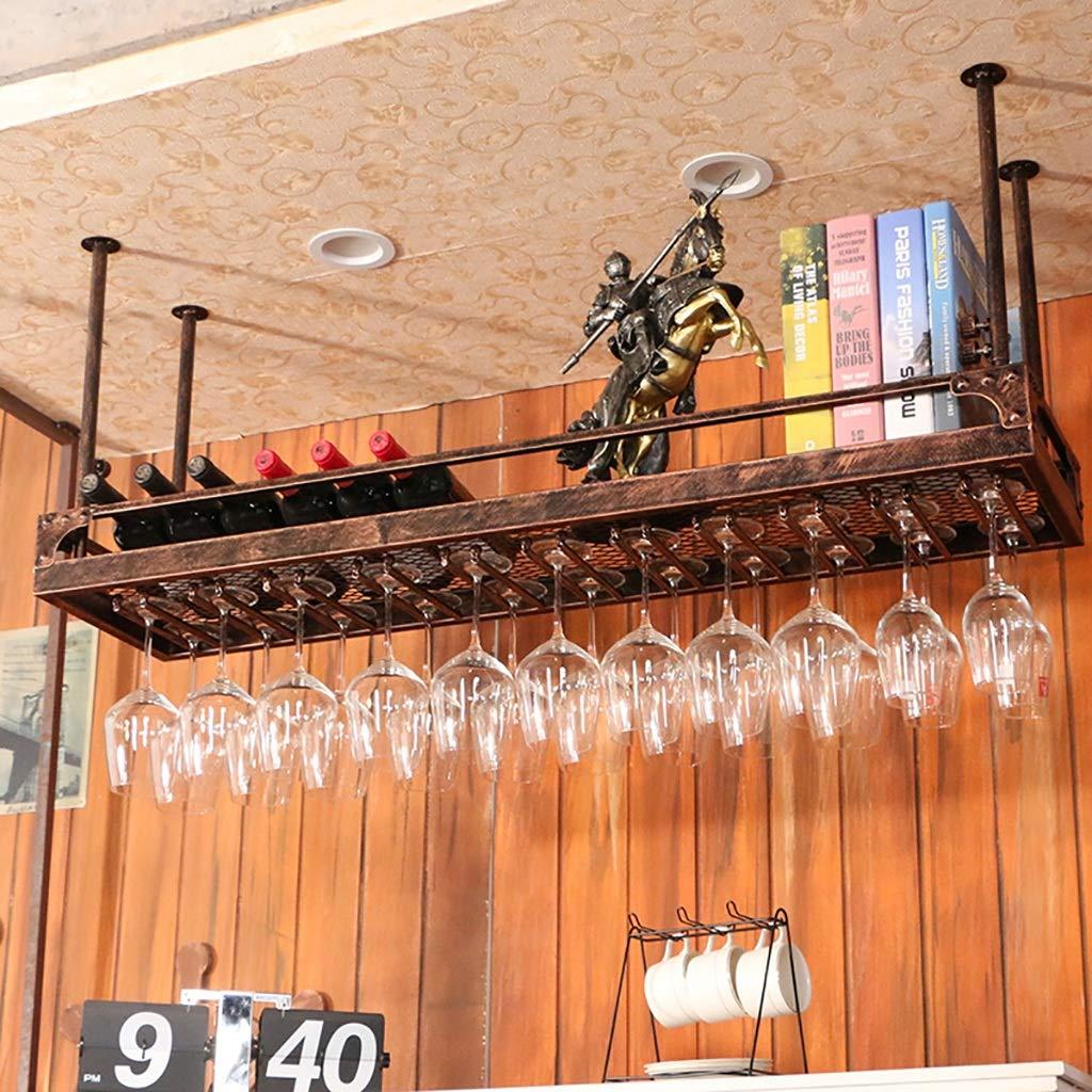 ワインラックゴブレットホルダーワイングラスラックサスペンションバーバーカウンター簡易棚 (色 : Brown, サイズ さいず : 100cm) B07LC9HQ9V Brown 100cm