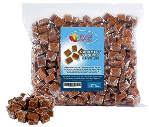 Caramel Candy - Bulk Caramel Creamy Squares - Caramels Vanilla Dulce De Leche - Brown Candy - 5 LB Bulk Candy