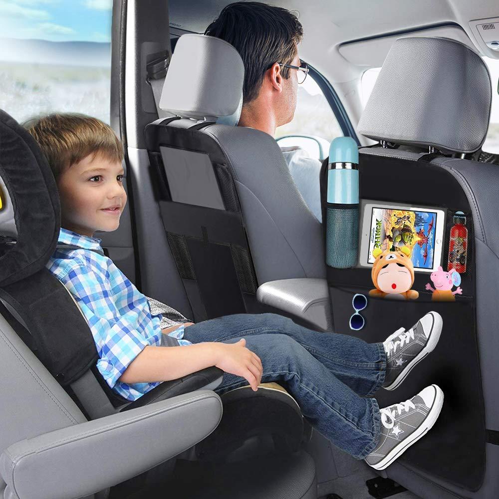 SENGBIRCH Car Back Seat Organizer 2Pcs,Black Oxford Waterproof Car Front Seat Protector,Multi-Functional Car Hanging Storage Bag-iPad holder-Tissue Toys-Vehicles Travel Accessories