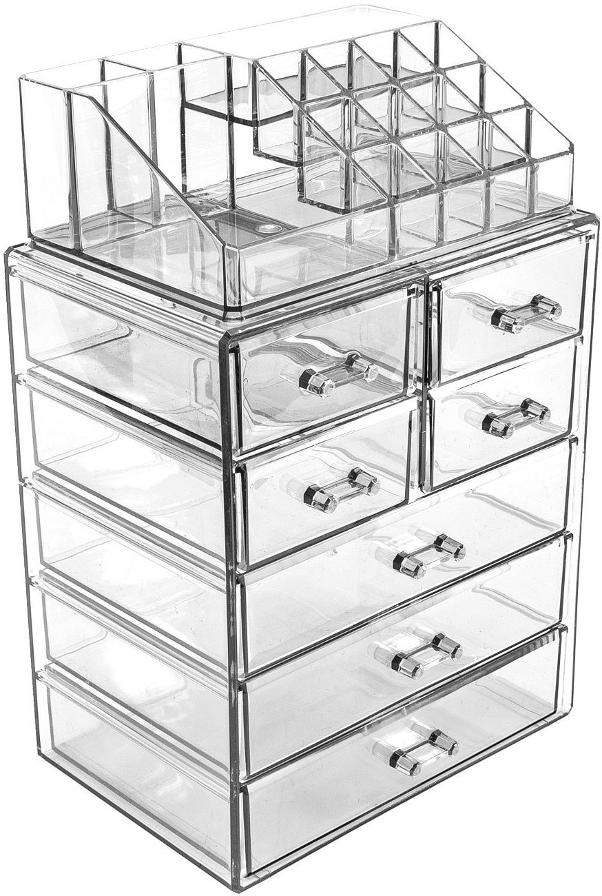 Sorbus Acrylic Cosmetic Makeup and Jewelry Storage Case Display - Spacious Design - Great for Bathroom, Dresser, Vanity and Countertop (3 Large, 4 Small Drawers, Clear)
