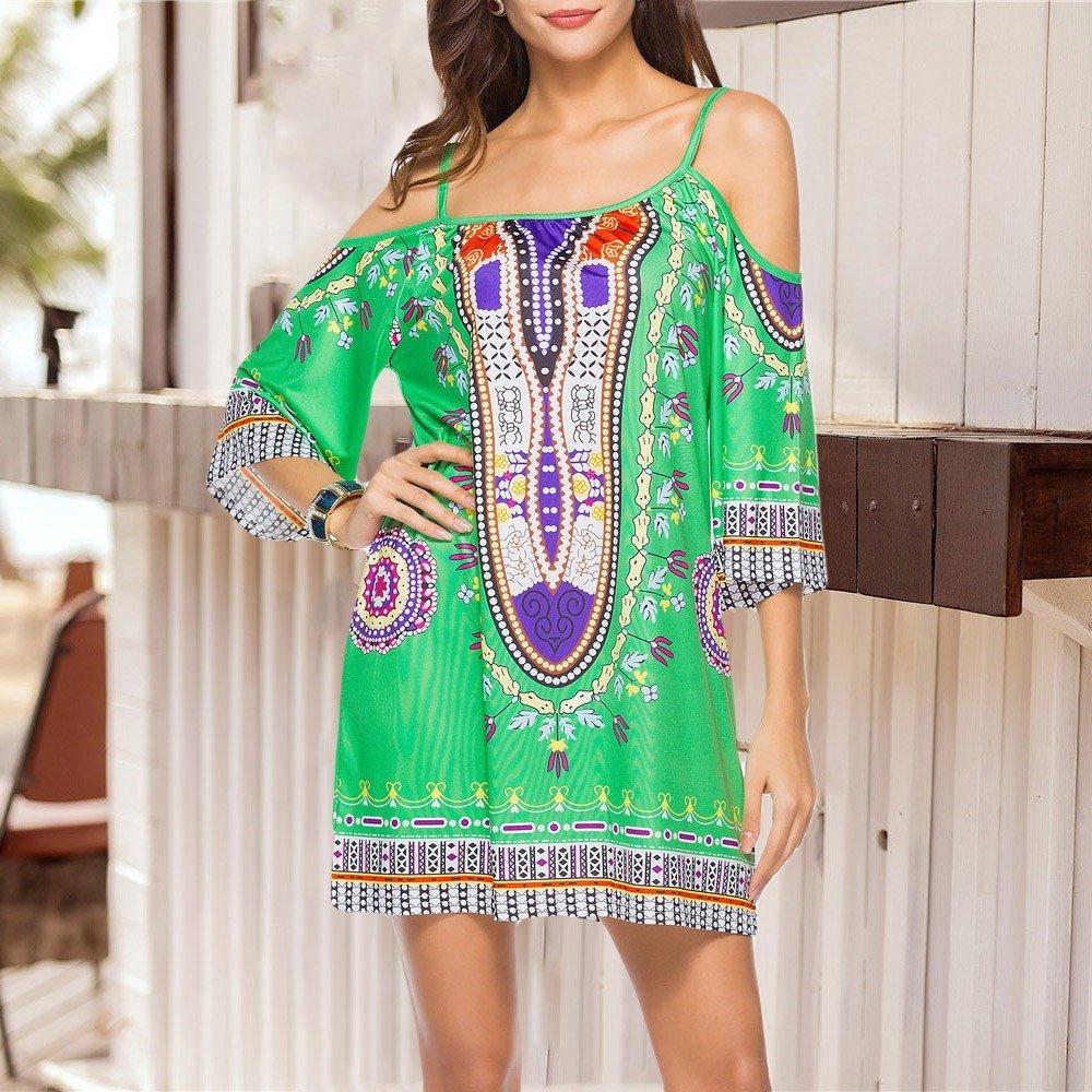 HAALIFE◕‿Women's Tribal Print Kimono Sleeve Geometric Tunic Boho Dress Green by HAALIFE Women's Clothing (Image #5)